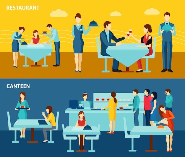 Catering pubblico 2 banner orizzontali piatti Vettore gratuito