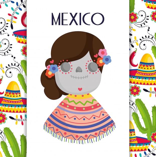 Catrina con poncho cappello cactus fiori messico tradizionale evento decorazione carta carta vettoriale Vettore Premium