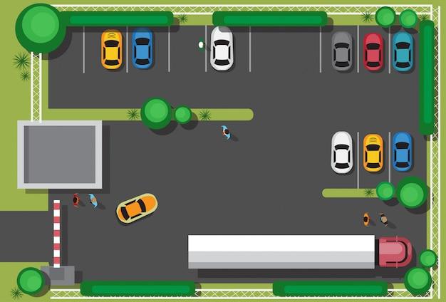 Cattiva città parcheggio bloccando le auto concetto vista dall'alto Vettore Premium
