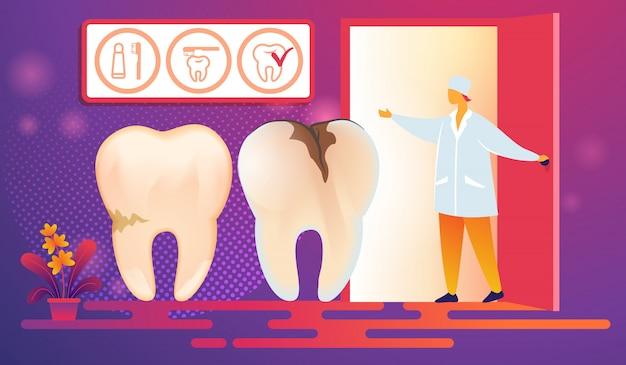 Cattivi denti con carie caries vieni procedura. Vettore Premium