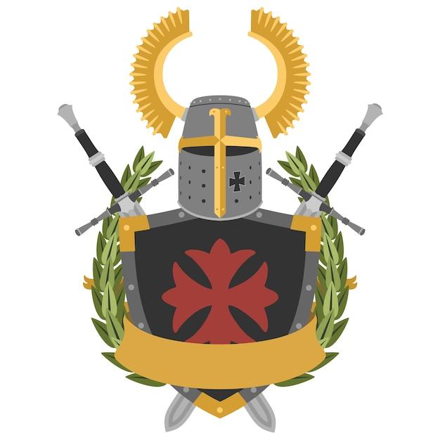 Cavaliere araldico in stile piatto Vettore Premium