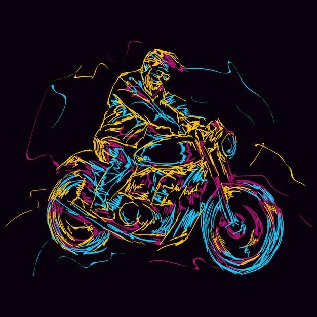 Cavaliere di moto colorato astratto Vettore Premium