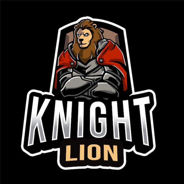 Cavaliere lion esport logo template Vettore Premium