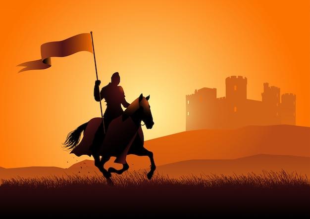 Cavaliere medievale a cavallo portando una bandiera Vettore Premium