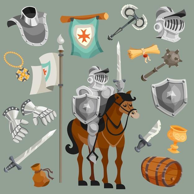 Cavalieri cartoon set Vettore gratuito