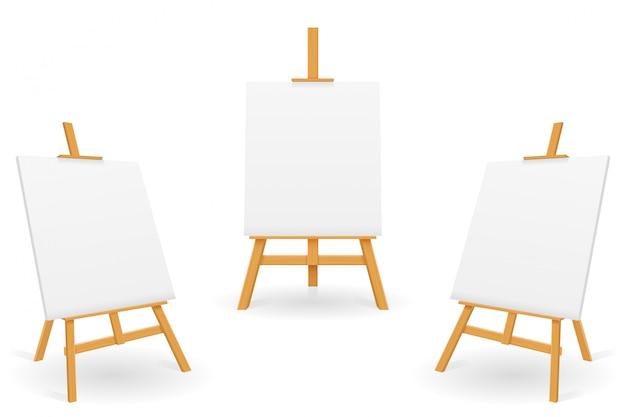 Cavalletto in legno per dipingere e disegnare con un foglio di carta bianco modello Vettore Premium