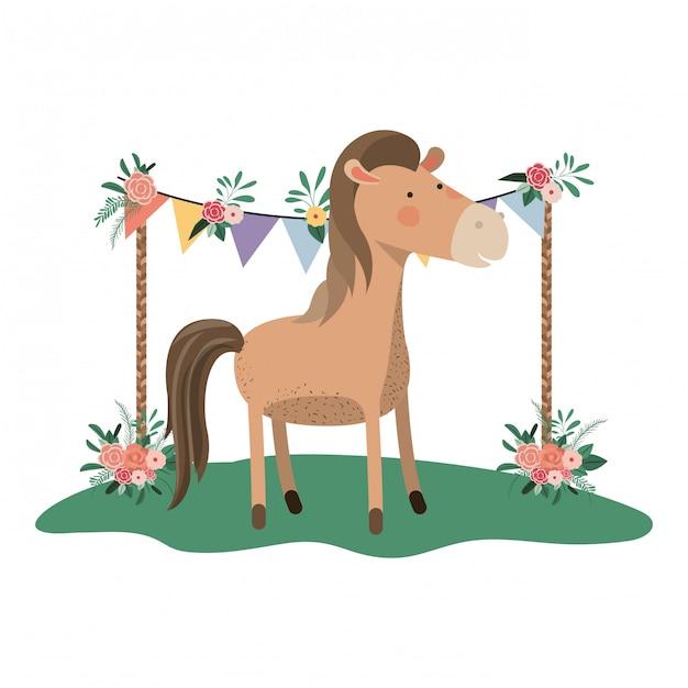 Cavallo carino e adorabile con cornice floreale Vettore Premium