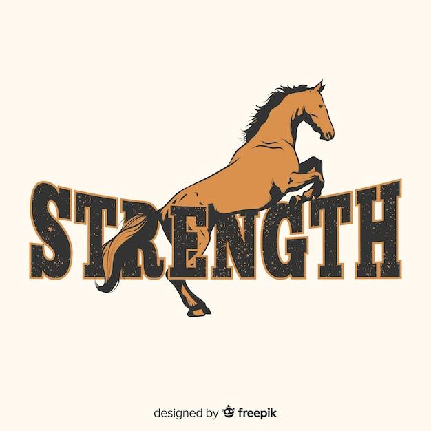 Cavallo disegnato a mano con sfondo di parola Vettore gratuito