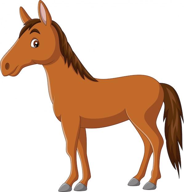 Cavallo felice del fumetto su fondo bianco Vettore Premium
