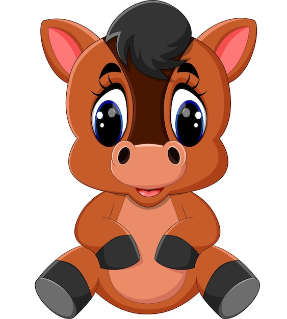Cavallo marrone cartone animato carino scaricare vettori premium