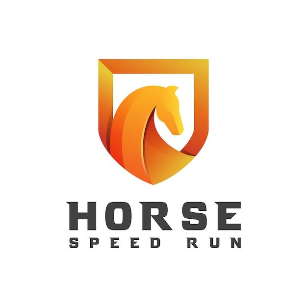 Cavallo moderno sfumato con scudo per modello di progettazione logo business o sport Vettore Premium