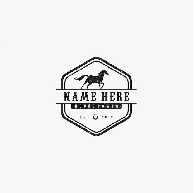 Cavallo nero vintage Vettore Premium