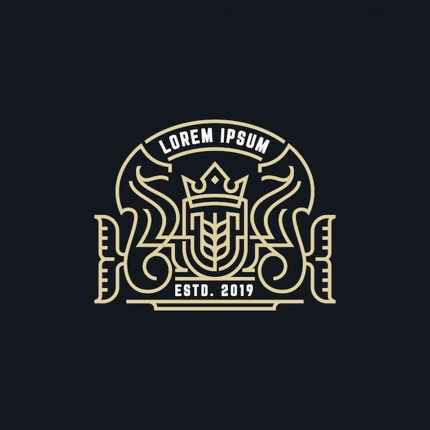 Cavalluccio marino monogramma con badge Vettore Premium