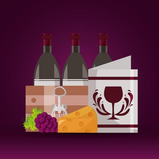 Cavatappi di legno dell'uva del formaggio del menu del cestino delle bottiglie di vino Vettore gratuito