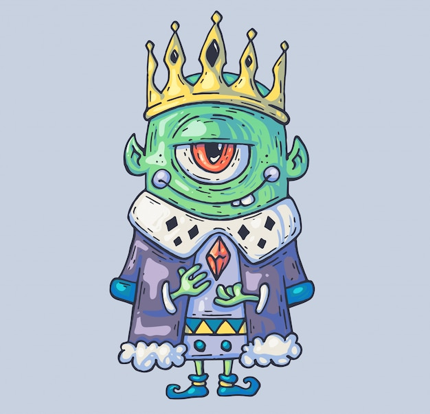 Cave king of dwarves and trolls. illustrazione di cartone animato Vettore Premium