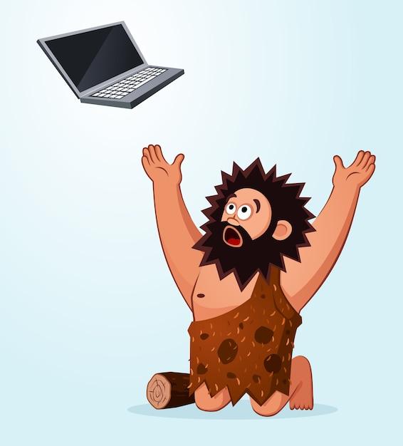 Caveman che adora un computer portatile Vettore Premium