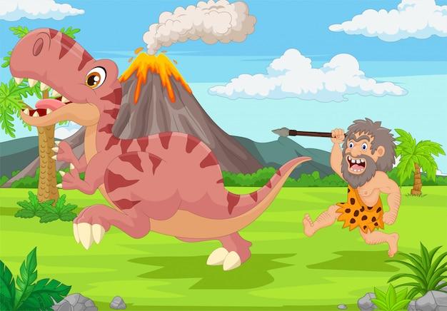 Cavernicolo del fumetto che insegue un dinosauro Vettore Premium
