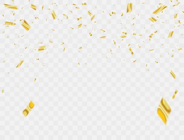 Celebrazione confetti nastri d'oro. Vettore Premium