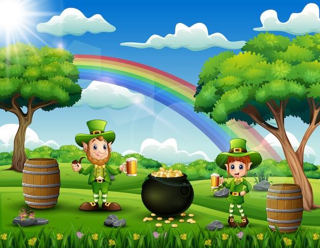 Celebrazione dei leprechauns di giorno di patricks sulla natura Vettore Premium