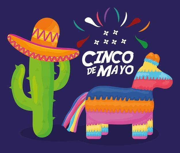 Celebrazione del 5 maggio con pinata e messicano Vettore Premium