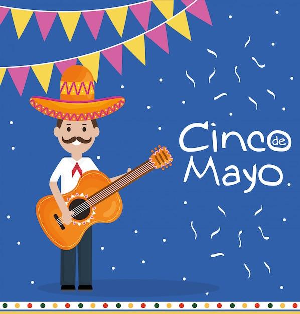 Celebrazione del 5 maggio con uomo che suona la chitarra Vettore Premium