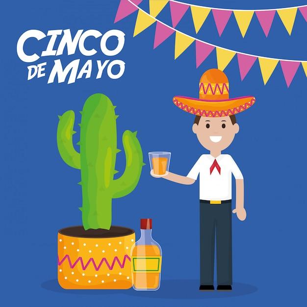 Celebrazione del 5 maggio con uomo e pianta di cactus Vettore Premium