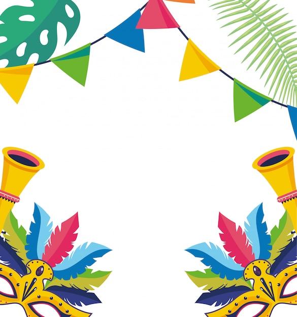 Celebrazione del carnevale sfondo brasile Vettore Premium