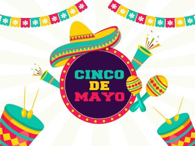 Celebrazione del festival cinco de mayo con elementi di festa Vettore Premium