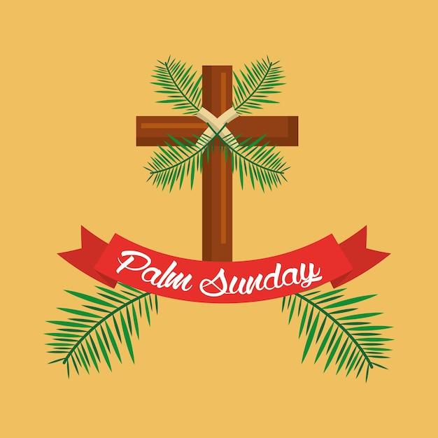 Celebrazione del nastro di ramo croce domenica delle palme Vettore Premium