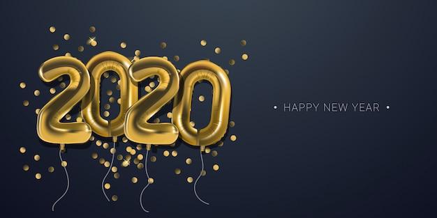 Celebrazione del nuovo anno 2020 con sfondo di numeri numerici palloncini stagnola d'oro Vettore Premium