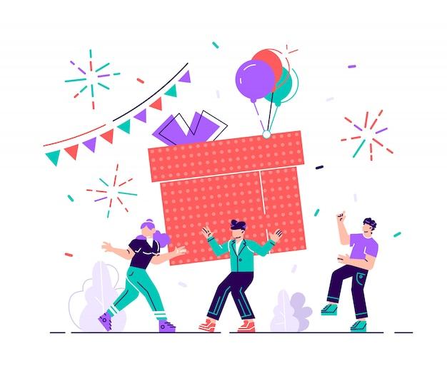 Celebrazione della festa di buon compleanno con un amico. design regalo per evento di auguri di natale. concetto della decorazione di amicizia della società. coriandoli di anniversario per l'illustrazione piana del fumetto di sorpresa divertente Vettore Premium