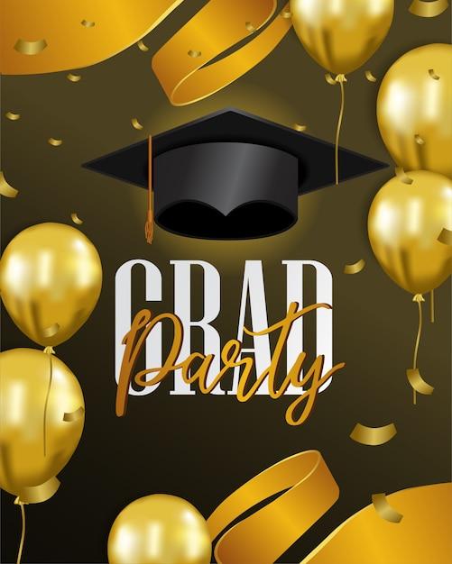 Celebrazione della festa di laurea felice Vettore Premium