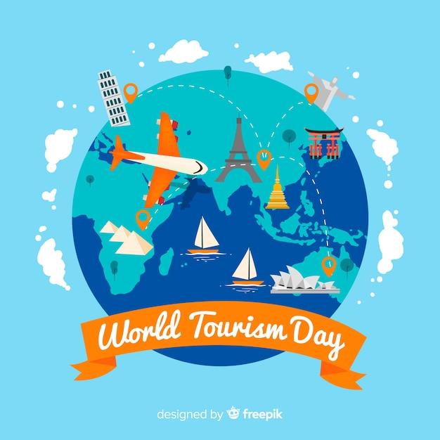 Celebrazione della giornata mondiale del turismo piatto Vettore gratuito