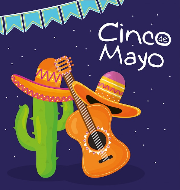 Celebrazione di cinco de mayo con chitarra e cappello messicano Vettore Premium