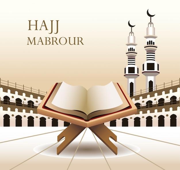 Celebrazione di hajj mabrour con il libro sacro coreano Vettore Premium