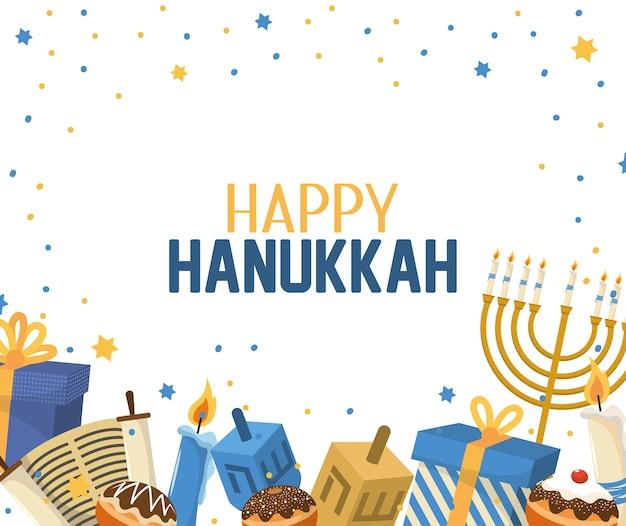 Celebrazione di hanukkah con decorazione di regali e candele Vettore Premium