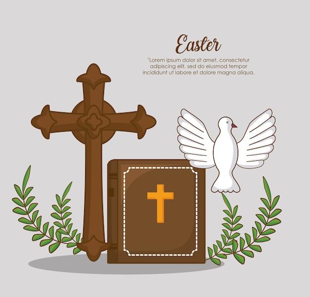 Celebrazione di pasqua con croce cristiana e bibble con colomba su sfondo Vettore Premium
