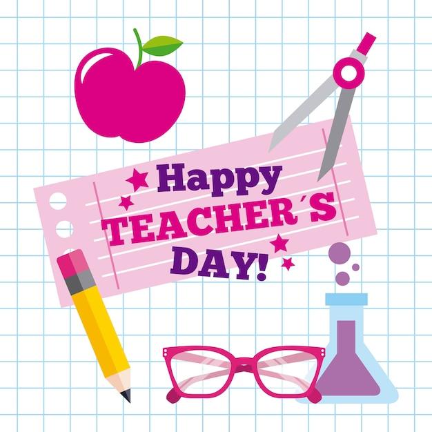 Celebrazione di saluto della carta giorno felice insegnante Vettore Premium