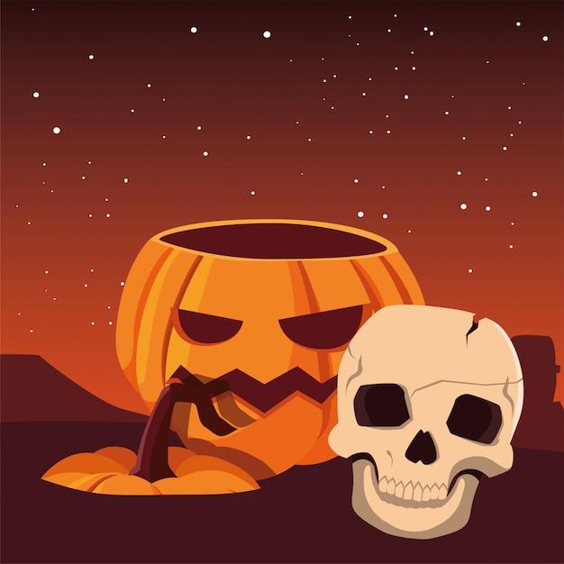 Celebrazione felice di halloween del cranio e della zucca Vettore Premium