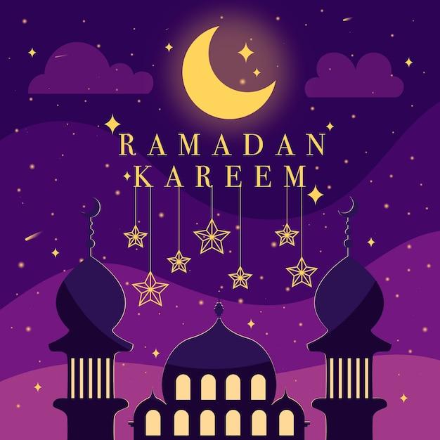 Celebrazione ramadan design piatto Vettore gratuito