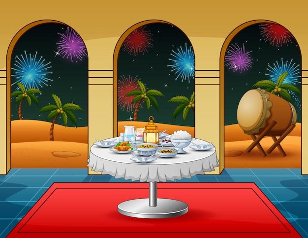 Celebrazione takbir notte con piatti di cibo presso la moschea Vettore Premium