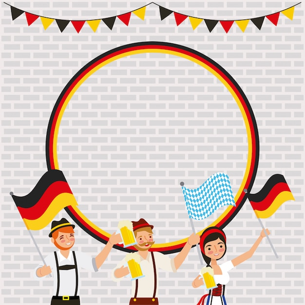 Celebrazione tedesca dell'oktoberfest Vettore gratuito