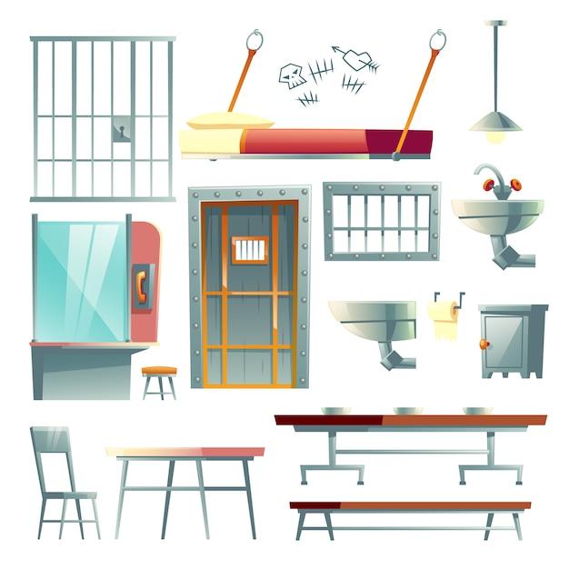 Cella di prigione, sala da pranzo della prigione e mobilia della stanza di visita, fumetto di elementi di interior design Vettore gratuito