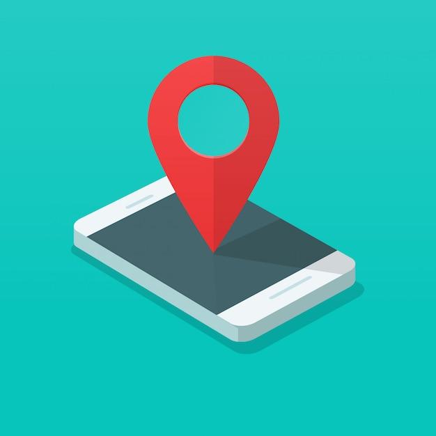 Cellulare con puntatore pin mappa Vettore Premium