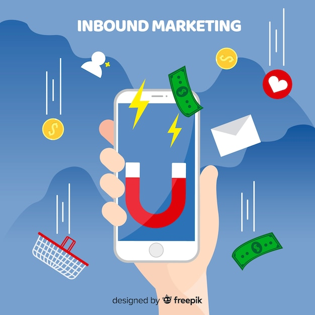 Cellulare inbound marketing background Vettore gratuito