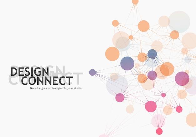 Cellule di rete di connessione e tecnologia molecolare astratta Vettore Premium