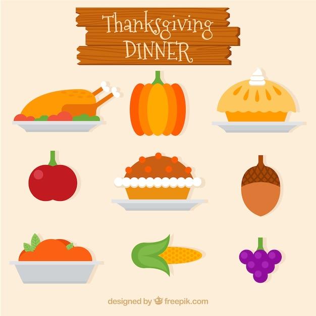 Cena di ringraziamento delicious in design piatto Vettore gratuito