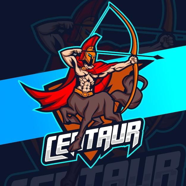 Centauro mascotte esport logo design Vettore Premium