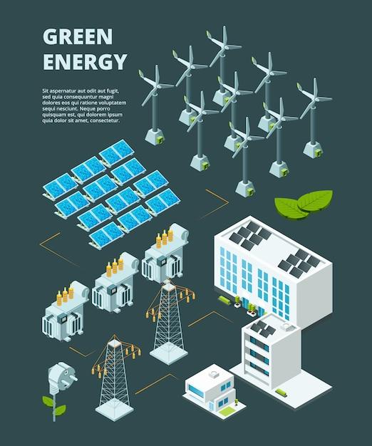Centrale elettrica verde elettrica. concetto isometrico 3d della città industriale di distribuzione di griglia di energia elettrica Vettore Premium