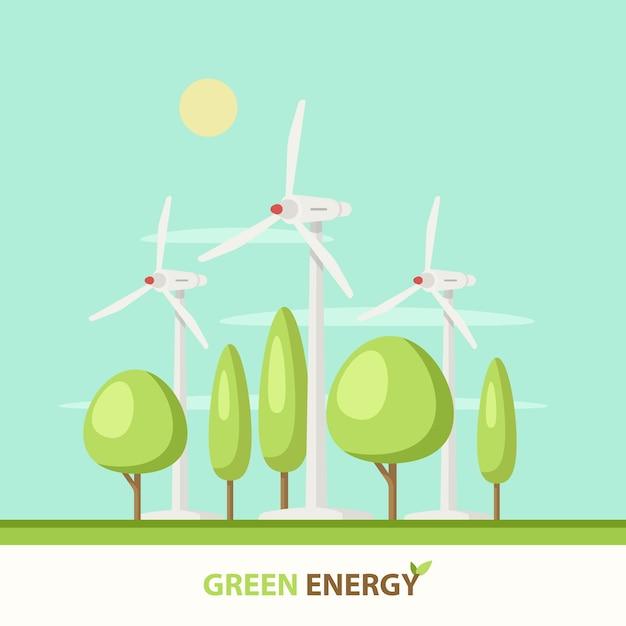 Centrale eolica con alberi verdi, sole, nuvole, cielo blu. Vettore gratuito